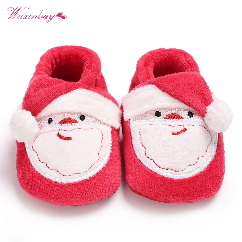 Baby Girl Boy Shoes First Walkers Toddler Infant Newborn Christmas Santa Claus Soft Sole Prewalkers Christmas Party