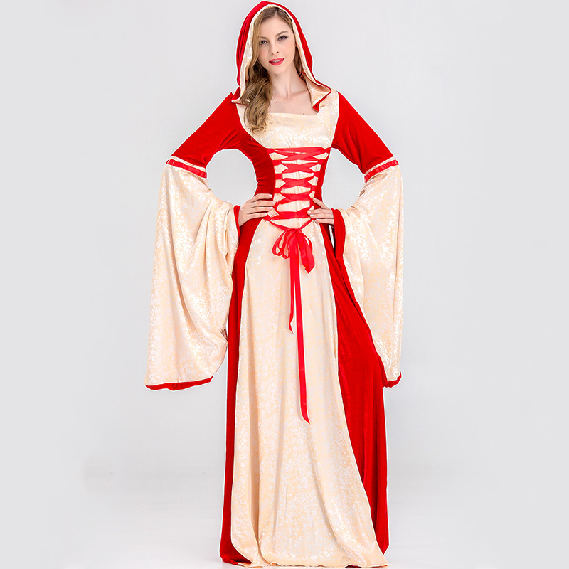 Court Queen Costumes European Vintage Witches Robe Fire Department Witch Costume Halloween Costumes