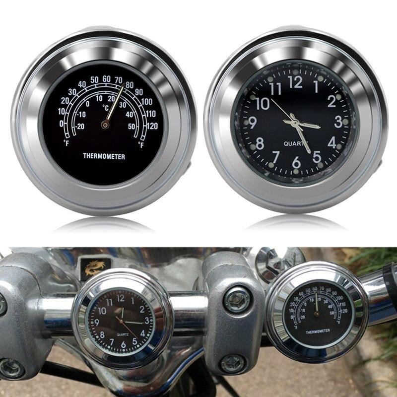 Impermeable universal 7/8 ''motocicleta bicicleta Agarraderas montaje reloj con motocycle termómetro