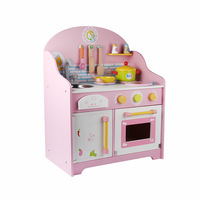Wooden Toys Mother Garden Clock Simulation Kitchen Toys Set WorkTop With Apron Girls Pretend Play Toys Gift