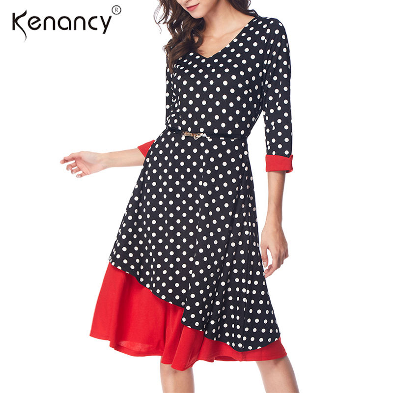 1ebe49ea6e6ee Kenancy 3XL Plus Size Belted Sexy V-Neck Retro Polka Dot Women Dress Party  Knee-Length 3/4 Sleeve Patchwork Vestidos