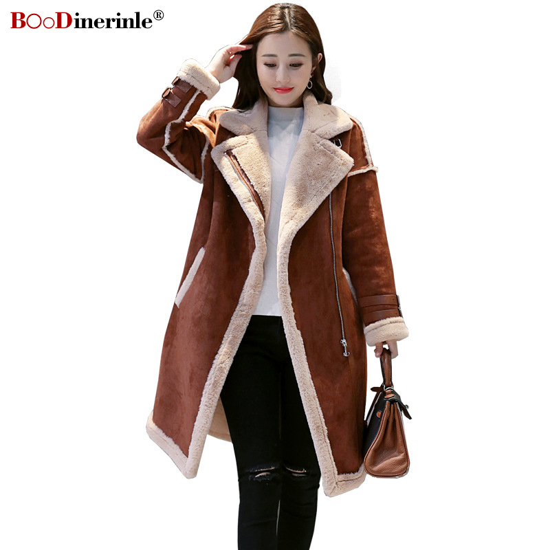 Winter New Women's Sheep Suede Jackets Female Trend Stitching Thicken Warm Coat Women Stand Collar Street Long Outwear L068