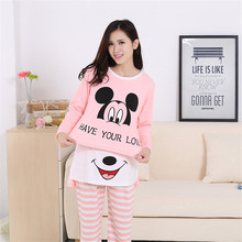 New 2016 nursing clothes out confined thin cotton long sleeve pregnant women pajamas Cartoon maternity sleepwear free shipping