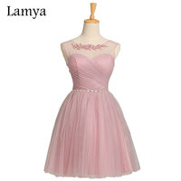 5 Colors Customized Cheap Pink Short Chiffion Bridesmaid Dresses 2016 Plus Size Crystal White Fromal Dress