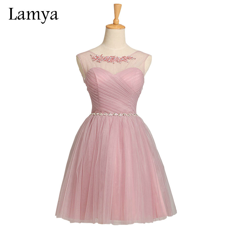5 Colors Customized Cheap Pink Short Chiffion Bridesmaid Dresses
