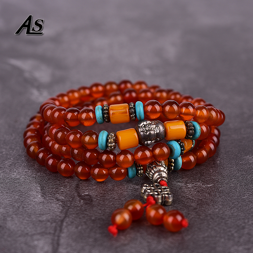Asingeloo 108 Beads Prayer Mala Tibetan Red Agat Healing Bracelets Men or Women's Yoga Meditation Jewelry