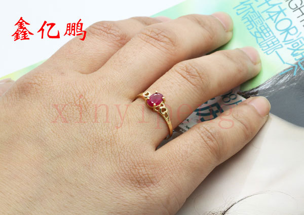 Women 18 k gold inlaid natural ruby ring Fashion luxury 4x6mm 5