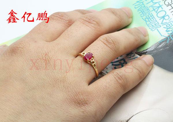 Women 18 k gold inlaid natural ruby ring Fashion luxury 4x6mm 5