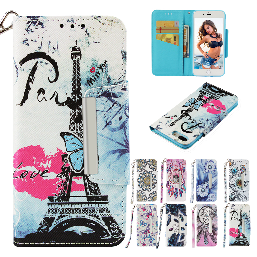 Flip Cases Wallet Stand Luxury Tower lovely Painted PU Leather Phone Case For samsung A6 A7 A8 2018 J3 J4 J5 J6 J7 J530 A5 Cover