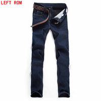 Men Jeans Business Casual Thin Summer Straight Slim Fit Blue Jeans Stretch Denim Pants Trousers Classic