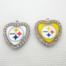 292d04d5 20pcs Football Pittsburgh Steeler Charms Crystal Heart Sport Charms DIY bracelet  necklace Jewelry Pendants Hanging Dangle