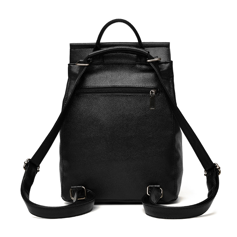 885cefbda3 Women Leather Backpack Minimalist Solid Black School Bags Teenagers Girls  Preppy Style Backpacks Rugzak Zaino Donna Sac A Dos -in Backpacks from  Luggage ...