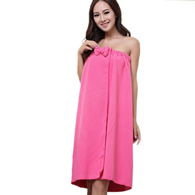 Women Microfiber Bath Towel Bath Robe Bathrobe Body Spa Bath Bow Wrap Towel Super Absorbent Bath Gown