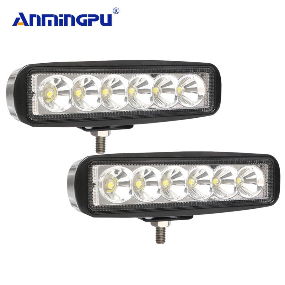 ANMINGPU 6 ''18 W Barra de luz LED de trabajo, punto/viga de la inundación, barra de luz Led para la motocicleta Tractor barco fuera de la carretera 4WD 4x4 camión SUV 12 V