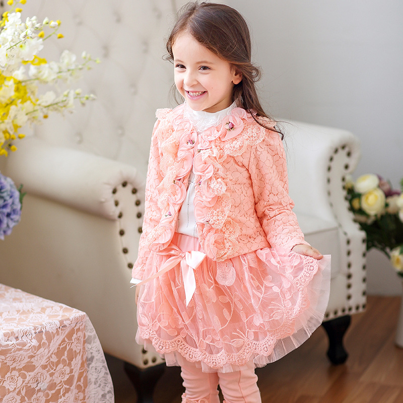 Children`s Winter Clothes Set floral Girls Sweater Coat+cotton Blouses+lace Skirt 3pcs Suit Girls Princess Shcool Clothing 4y-8y women s tiered collar business suit skirt set 8 orchid
