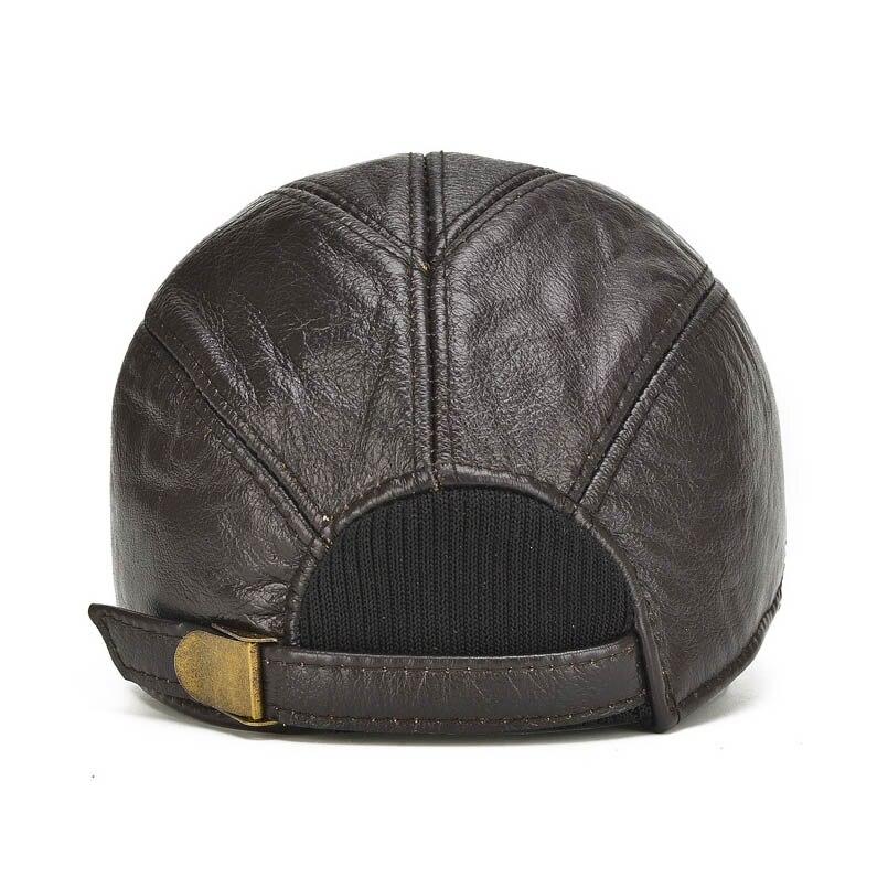 Gorra de béisbol de cuero genuino de 2018 de Eagle born para hombre con  alerones de oreja clásica nueva moda negra marrón Gorras papá en Gorras de  béisbol ... 52757155731