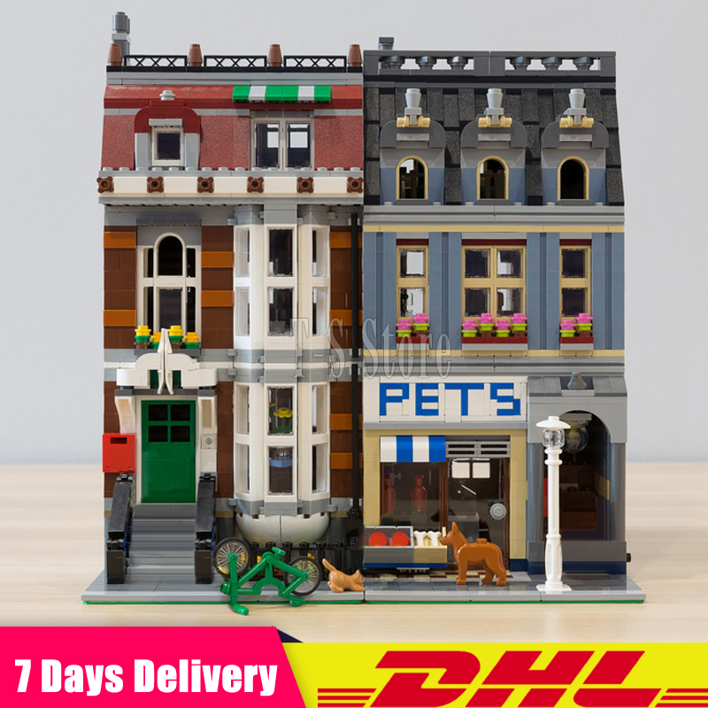 Clone 10218 DHL IN Stock LEPIN 15009 2082 Pcs Pet Shop City Street Model Building Blocks Bricks Figures Modular Set Gift Toys lps pet shop toys rare black little cat blue eyes animal models patrulla canina action figures kids toys gift cat free shipping