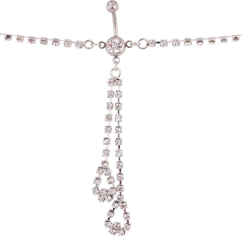1PCs Heart Rhinestone Chain Dangle Barbell Belly Button Navel font b Ring b font Bar Piercing