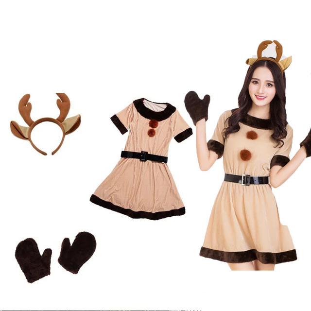 c0a462449492 Lady   Preppy Teen Girls Christmas Santa Elk Deer Costume Fancy ...