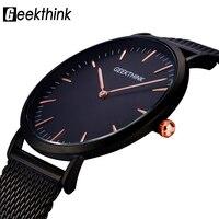 GEEKTHINK Top Luxury Brand Quartz Watch Men Black Casual Japan Quartz Watch Stainless Steel Mesh Strap