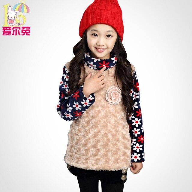 Детская одежда зимние женские ребенок плюс бархат толстовка тепловой одежды младенца осенью и зимой футболку девушки утолщение