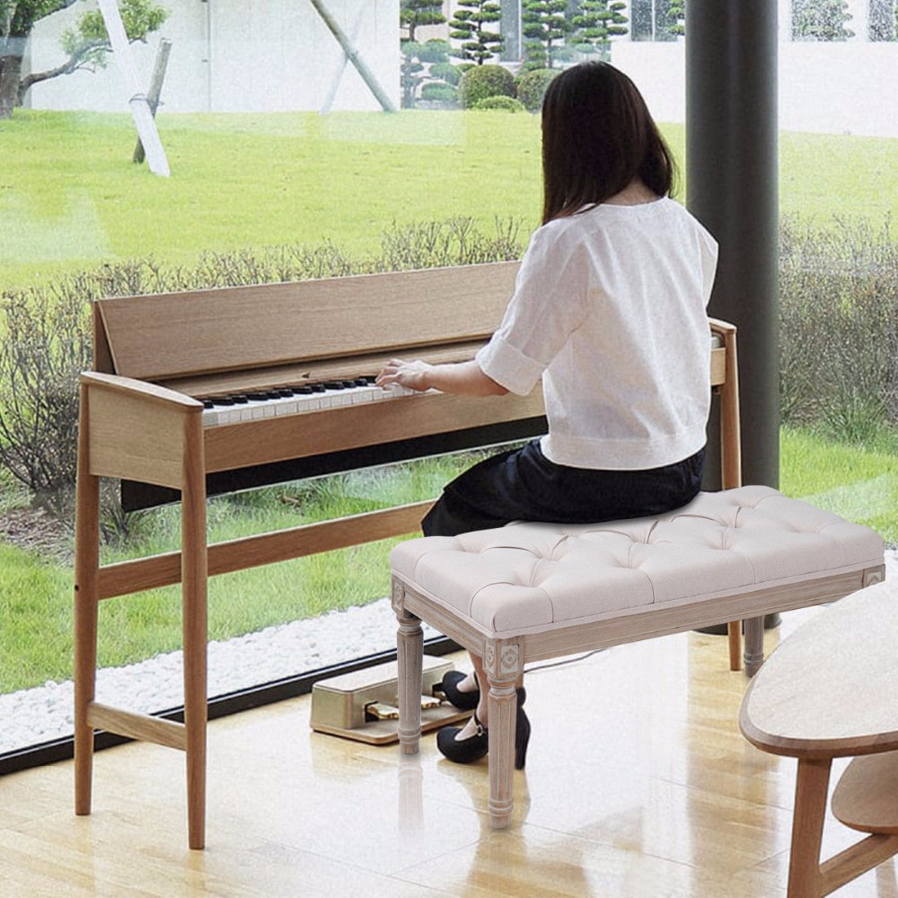 Pleasing Giantex Double Duet Piano Bench Keyboard Fabric Seat Tufted Gmtry Best Dining Table And Chair Ideas Images Gmtryco