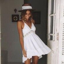 Divat Mini nyári ruha Női csipke Horgolt hímző hölgyek BOHO Strandruha magas derék