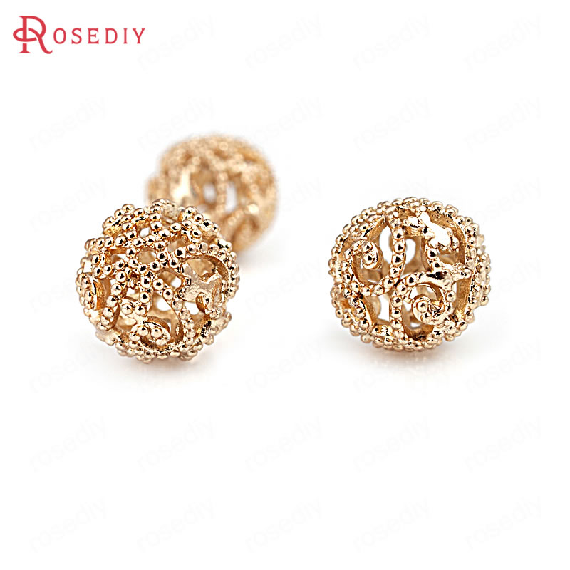 6PCS 10MM 24K Champagne Gold Color Plated Brass Hollow Round Beads Bracelet Beads High Quality Diy Jewelry Accessories