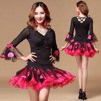 New Ladies Latin Ballroom Waltz Tango Square Dancing Dress Tops Skirt