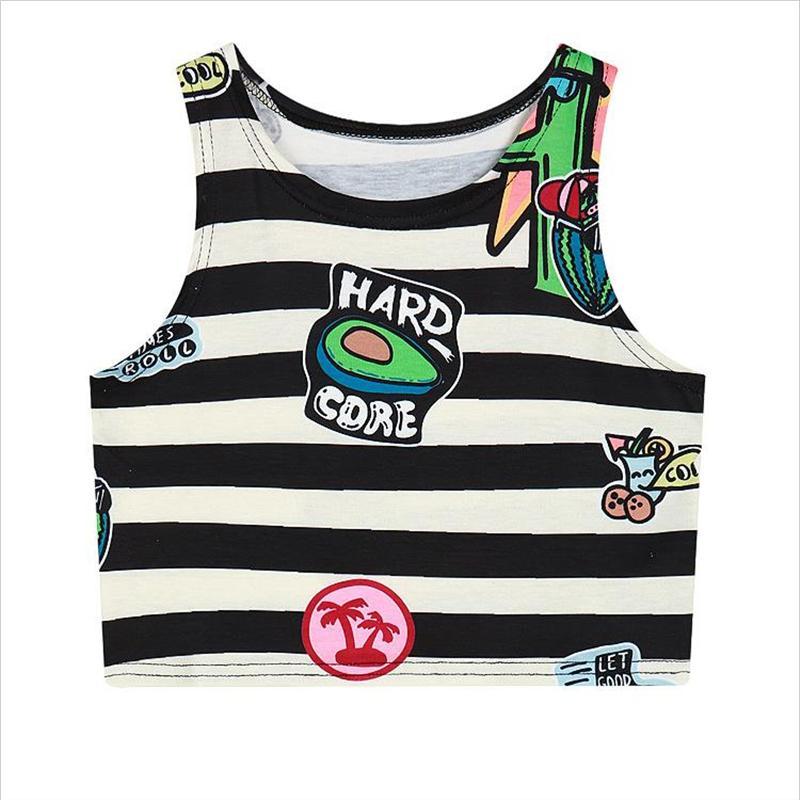 Raisevern 21 Styles New Cute Crop Top Cartoon Strip 3D Tank Top Women Kawaii Crop Tops Harajuku Punk Top Cropped Feminino
