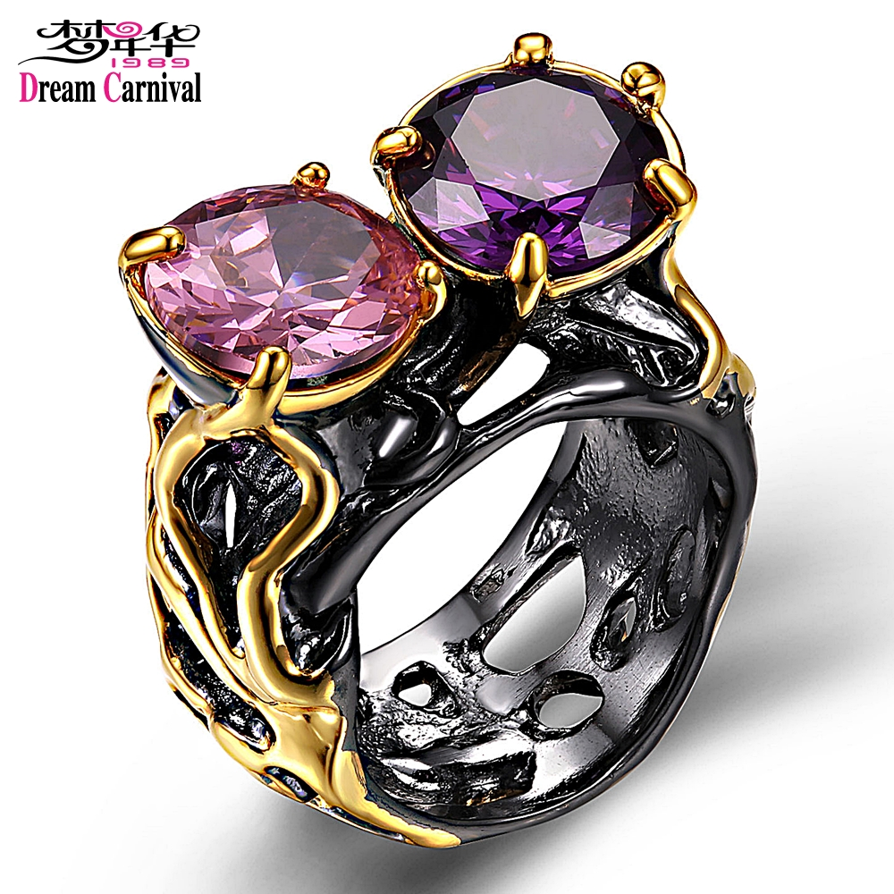 DreamCarnival 1989 Black Gold Color Rings for Women Big CZ