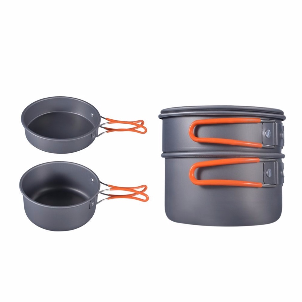 8pcs Portable Outdoor Camping Hiking Cookware Picnic Cooking Bowl Pot Pan Set