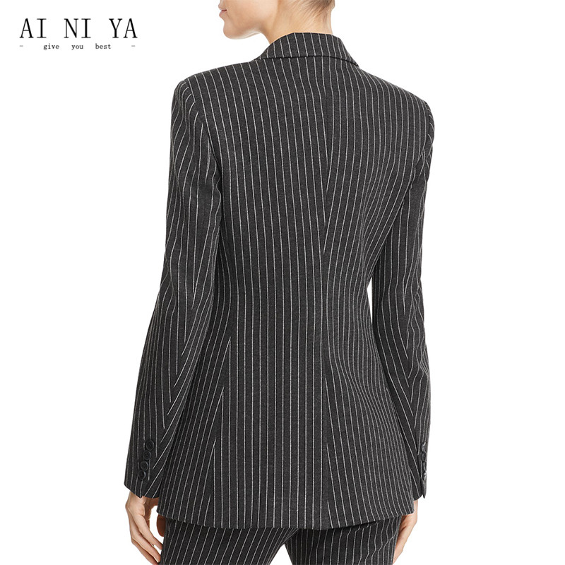 Jacket+Pants Women Business Suits Peak Lapel Single Breasted Slim Striped Ladies Office Work Suits 2 Piece Female Trouser Suits