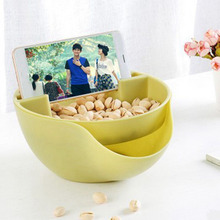 Hoomall Double Layer Melon Seeds Nut Bowl New Year Table Organizer Dry Fruit Holder Storage Box Plate Dish Tray With Phone Stent