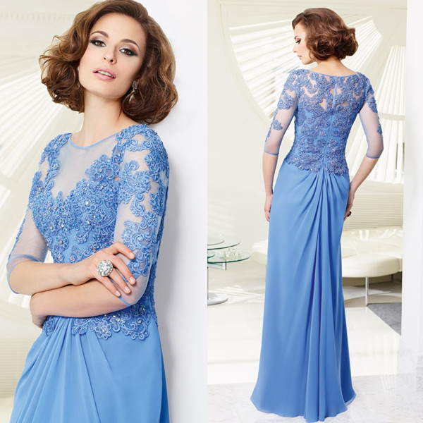 2014 Middle Sleeve Periwinkle Chiffon Long Lace Mother Of The Bride