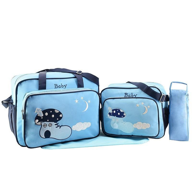 MOTOHOOD 4pcs Baby Diaper Bag Sets For Mom Maternity Baby Bag Organizer Bottle Bag + Nappy Map Cute Shoes Printing Nappy Bag (5)