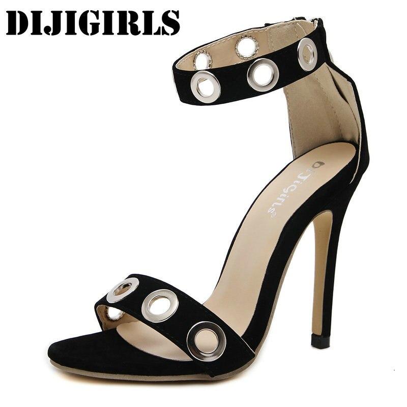 Women Casual Sandals Ankle Zipper High Heels Fashion Sexy Open Toe Ladies Shoes Metal Decoration Circle Concise Stiletto Sandals denim zipper hollow worn stiletto womens sandals
