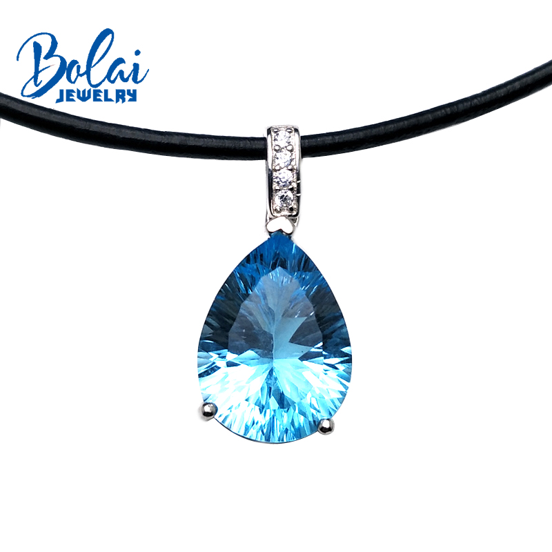 Bolaijewelry,simple style natural sky blue topaz pear 12*16mm pendant with leather chord necklace 925 silver as women daily wear wwd women s wear daily 2012 11 26