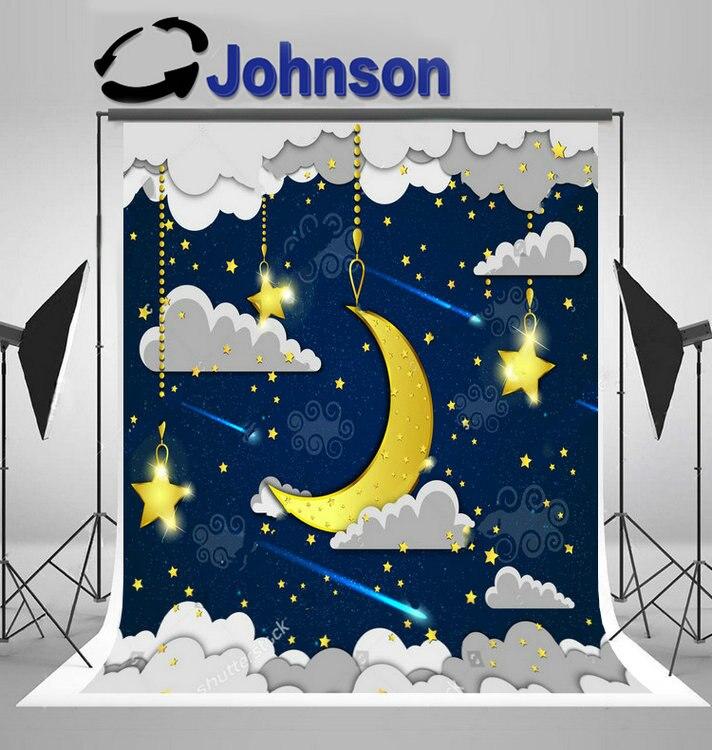 Half moon вечернее небо звезды облака фон винил ткань высокого качества Компьютер печати свадьба фон