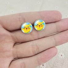 Pokemon Silver Plated with Glass Cabochon PokeBall Stud Earrings