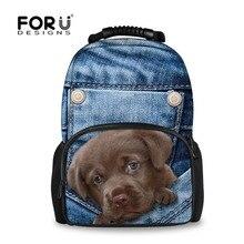 FORUDESIGNS Cute Animal Large Women Travel Backpack Denim Pocket Dogs Cats Printing School Backpacks for Teenage Girls Boys Men