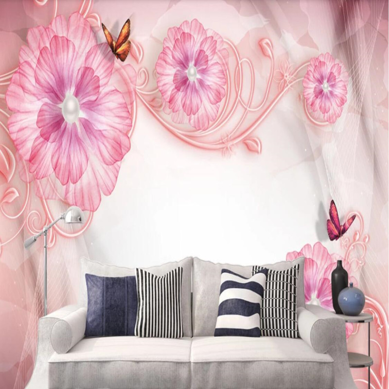 Small fresh embossed floral mural background wall decorative painting in Fabric Textile Wallcoverings from Home Improvement