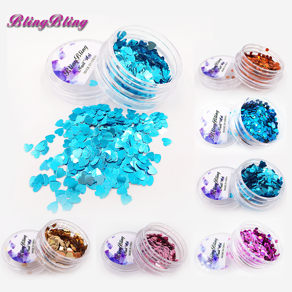 Nº6 Box Shining Colorful Sequins Nail Glitter Set Heart Round Shape ...