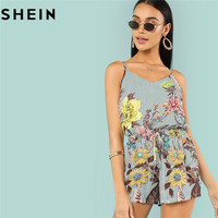 SHEIN Women Floral Striped Boho Casual Two Pieces Set Camisole And Elastic Waist Shorts Summer Beach
