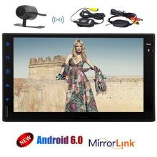 two 2 Din Car Stereo with Android 6.0 Quad Core In Dash GPS Navigation Auto FM AM Radio WiFi Mirrorlink +Wireless Backup Camera