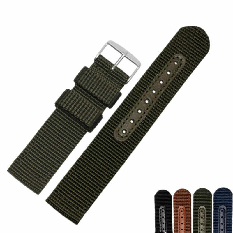 18 20 22 24 мм человек женская обувь черного и зеленого цветов синий коричневый часы полоса ткани ручной работы ремень серебро полированной пряжкой для rolex Omega