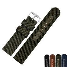 16 18 20 22 24mm New Man Woman Black Green Blue Brown Colorful watchband Handmade Fabric Strap Belt Silver Polished Pin Buckle недорого