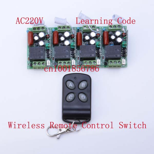 HOT Sale RF 4 Receivers(Mini size)+1Transmitter 220V 4CH Wireless Remote Control Power Switch SystemFor LED Light Lamp 220v wireless remote control switch system rf 4 receivers 3transmitter for led light lamp freeshipping