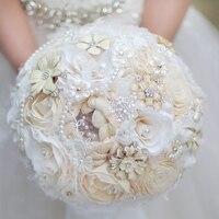 Творческие украшения засушенные цветы свадебный букет, слоновая Кость свадебное невесты брошь букет, пользовательские кристалл Перл Круже