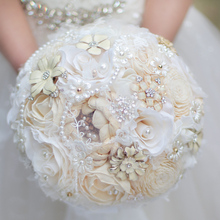 Creative jewelry dried flowers bridal bouquet,  Ivory White wedding bride's brooch bouquet, Custom crystal Pearl Lace Bouquet